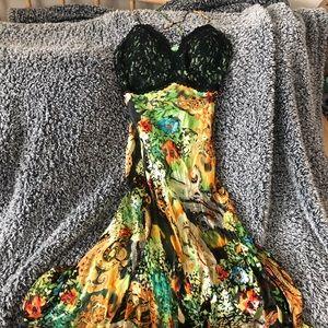 Women's silk sweetheart dress cocktail formal gown